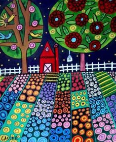 Landscape Art - Contemporary Abstract Landscape Red Barn Folk art dog Poster Print of painting by Heather Galler (HG568)