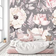 Removable Wallpaper Mural Peel & Stick Seamless Pattern with Pink Flowers and Leaves on Gray Background by uniQstiQ on Etsy