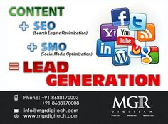 """Lead Generation: """"The lead generation process starts by finding out where your target market 'lives' on the web."""" We Generate leads and convert them into loyal customers.  For Further Details Please Contactus Today Contact : Phone: +91 8688170003 +91 8688170008 Email-Id:info@mgrdigitech.com Website:www.mgrdigitech.com  #MGR, #MGRDigitech, #Digital,#OnlineSales, #DigitalSolutions, #LeadsGeneration."""