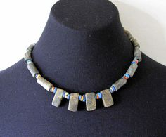 Vintage tribal polished soapstone necklace by BountyFromThePast on Etsy