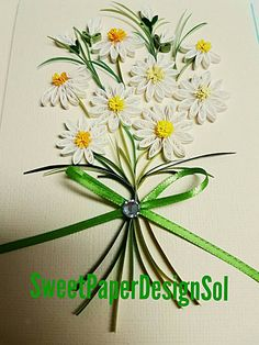 Paper quilling spring Daisy flower bouquet card for