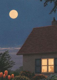 Full Moon - by Quint Buchholz - (stars, night, nighttime, sun, art, illustrations)