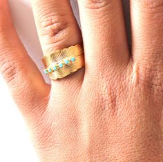 Gold Ring Feather and turquoise rhinestones 14k Gold by iloniti