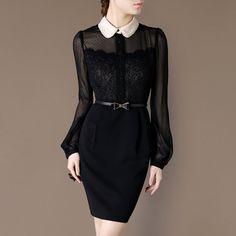 Ladylike Formal Dress Elegant Outfit Black Chiffon Puff Sleeve Vintage Style Notched Neckline British Style Professional Women Dresses CJ12 on Etsy, $106.00