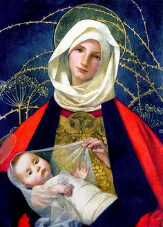 Madonna And Child Print By Marianne Stokes    http://fineartamerica.com/products/1-madonna-and-child-marianne-stokes-art-print.html