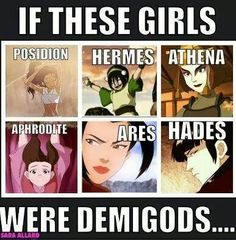 Not so sure Toph would be Hermes but the rest fit.