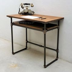 Berkeley Industrial Mid-Century Desk from Eco Friendly Digs Industrial Design Furniture, Vintage Industrial Furniture, Pipe Furniture, Industrial House, Furniture Projects, Modern Furniture, Outdoor Furniture, Classic Furniture, Industrial Shelving