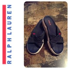 Polo Sandals Polo by Ralph Lauren Sandals. Man made materials. Size 6 1/2 Regular. The color is blue with red Logo. In overall good condition with normal wear.  Smoke free home. ALL OFFERS through the offer button ONLY. Polo by Ralph Lauren Shoes Sandals