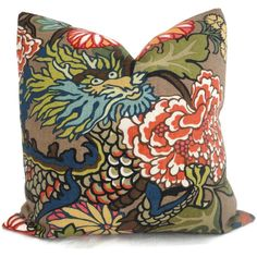Double Sided Schumacher Chiang Mai Dragon Decorative by PopOColor