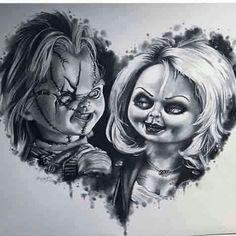 Chucky And Tiffany! Love it Chucky And Tiffany! Horror Movie Tattoos, Horror Movie Characters, Scary Tattoos, Black Tattoos, Body Art Tattoos, Tattoo Drawings, Horror Icons, Horror Art, Tiffany Tattoo