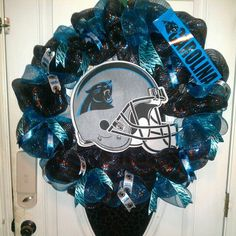 Carolina panther deco wreath.
