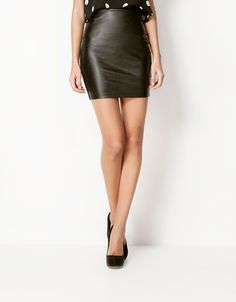 Bershka Israel - Bershka imitation leather skirt. Too bad it's not A shaped.