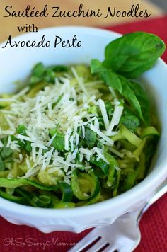 These delicious gluten-free Sauteed Zucchini Noodles (Zoodles) with Avocado Pesto are the perfect clean eating way to get more veggies in your diet!