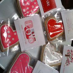 Valentine sugar cookies packaged for bake sale
