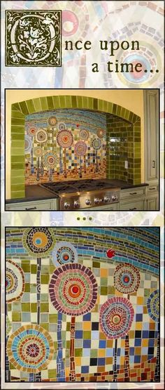 LOVE this mosaic backsplash made by Mercury Mosaics. It was inspired by a German artist called Hundertwasser.This would be such a lovely mosaic on our garden wall! Mosaic Diy, Mosaic Garden, Mosaic Crafts, Mosaic Wall, Mosaic Glass, Wall Tile, Kitchen Mosaic, Mosaic Backsplash, Mosaic Tiles