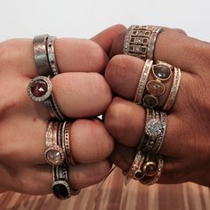 Rings if all different sizes, colors and metals! Todd Reed.