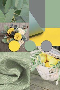 Sage Color Palette, Pantone Colour Palettes, Grey Palette, Yellow Color Combinations, Green Color Schemes, Pantone Color Guide, Interior Paint Colors For Living Room, Yellow Pantone, Trending Paint Colors