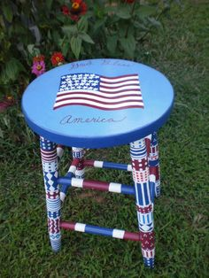 Whimsical Painted Furniture | Whimsical Patriotic Colorful Stool