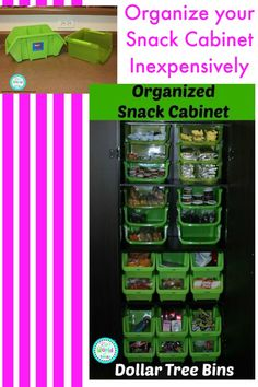 Organize your snack cabinet inexpensively with bins from the dollar store
