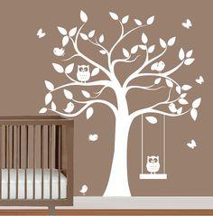babies nursery tree wall decal - tree silhouette with butterflies,owls & birds -  wall sticker vinyl