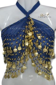 You will love this handmade belly dance hip scarf with more than 158 Gold Coins that produce a lovely jingly sound when you move. It is 100% hand crocheted knots with beads and coins. This belly dance scarf will for sure attract attention on you, and only you!!   http://henrygdance.com/belly-dance/multi-use-scarfs-belts/egyptian-belly-dance-scarf-belt-hip-wrap-deep-blue.html #GoldCoins