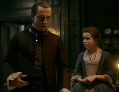 """Episode 212 """"The Hail Mary"""" of Outlander Season Two on Starz outlander-online.... with Tobias Menzies as Jack Randall and Rosie Day as Mary Hawkins"""