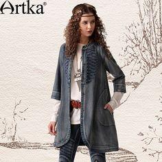 Джинсовый плащ на пуговицах с накладными карманами,  Artka: интернет-магазин обуви и одежды