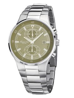 Kenneth Cole Watches Men's Round Stainless Steel & Green Watch