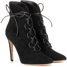 Gianvito Rossi Empire Lace-Up Suede Ankle Boots (51,455 PHP) ❤ liked on Polyvore featuring shoes, boots, ankle booties, black, suede lace up booties, black bootie, lace up booties, suede booties and suede ankle boots