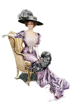 Harrison Fisher Vintage Image Victorian Lady with Purple Dress Digital Download for Scrapbooking Card Making Altered Art Mixed Media. $4.00, via Etsy.