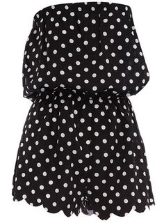 Dorothy Perkins  Black dot bandeau romper   $17 with scalloped bottoms!!!