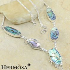 "Rainbow Color Ocean Shell 925 Sterling Silver Chain Lady Necklace 19"", N3 #Hermosa #Choker"