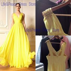 Aliexpress.com : Buy 2016 Yellow Evening Dresses Summer Chiffon LongV Neck Sleeveless Pleats Chiffon Long Prom Dresses Gowns Summer Style Cheap from Reliable gown and robe sets suppliers on Life&Peace Dress Store