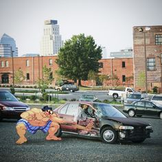 video game meets real life 8 bit art aled lewis street fighter 8 Bit Art: Video Games vs Real Life Series by Aled Lewis 8 Bits, Top Photos, Pictures, Akira, Photomontage, Karate, Pixel Art, Videogames, 8 Bit Art