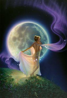 Fine Art, Fantasy and Horror Illustration Fantasy Kunst, Moon Magic, Beautiful Moon, Beautiful Life, Moon Goddess, Aurora Goddess, Luna Goddess, Celtic Goddess, Goddess Art