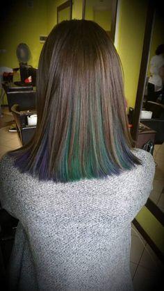 Oil slick hair brunette