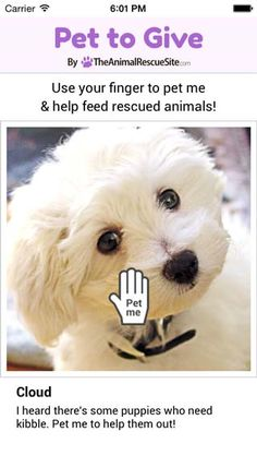CALL TO ACTION: Help feed rescued animals every day with this cute, fun, and FREE phone and tablet app!  Every time you pet an adorable dog or cat in the Pet to Give APP, a donation of food is generated for shelter animals in need. This is made possible by The Animal Rescue Site, who turns your simple, daily online actions into tangible help for shelter pets.