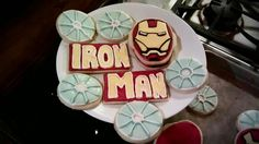 Mom's Iron Man sugar Cookies Iron Man Birthday, Sugar Cookies, Birthday Parties, Party Ideas, Cakes, Desserts, Food, Birthday Celebrations, Tailgate Desserts