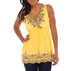 Embroidered Empire Waist Tank - Spring Tops for $15 - not a fan of yellow, but I like this
