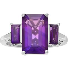 Genuine Amethyst Sterling Silver Ring ($120) ❤ liked on Polyvore featuring jewelry, rings, amethyst jewelry, amethyst rings, sterling silver jewellery, sterling silver amethyst jewelry and sterling silver rings