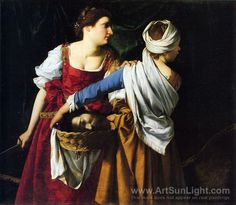 Judith and her Maidservant. By Orazio (or Artemisia?) Gentileschi  Artist:	  Artemisia Gentileschi