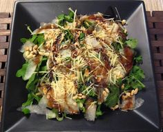 Rocket, pear & parmesan salad with caramelised balsamic.