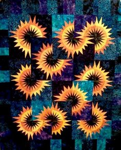 Sunflower Illusions, Quiltworx.com, Made by Kelly Grant!!! Bebe'!!! Love the sunflower quilt design!!!