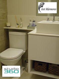 asti-marmores | Banheiros Lavatório e Prateleira em Branco Prime #astimarmores #banheiro #prateleira #brancoprime #studio360