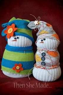 Sock Snowmen - made from a tube sock and a cutsie sock.  Could use unmatched socks and scraps of material, too.