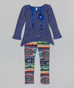 Look at this Royal Blue Metallic Sidetail Tunic Set - Girls on #zulily today!