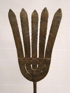 "Eel Spear. Wrought-Iron. 32"" Long. Circa 19th Century."