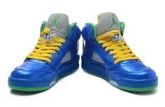 £66.68  Air Jordan 5 Metallic Blue Yellow Green