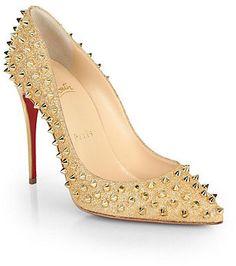 Christian Louboutin Follies Spiked Glitter Pumps on shopstyle.com