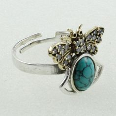 CUBIC ZIRCONIA &TURQUOISE STONE  DESIGNER 925 STERLING SILVER RING #SilvexImagesIndiaPvtLtd #Statement
